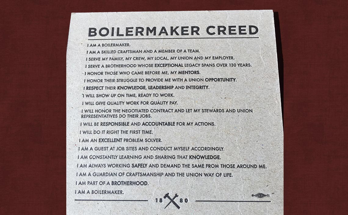 Boilermakers Creed
